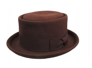 Classic Burgundy Pure Wool Vintage Style Mens Pork Pie Hat